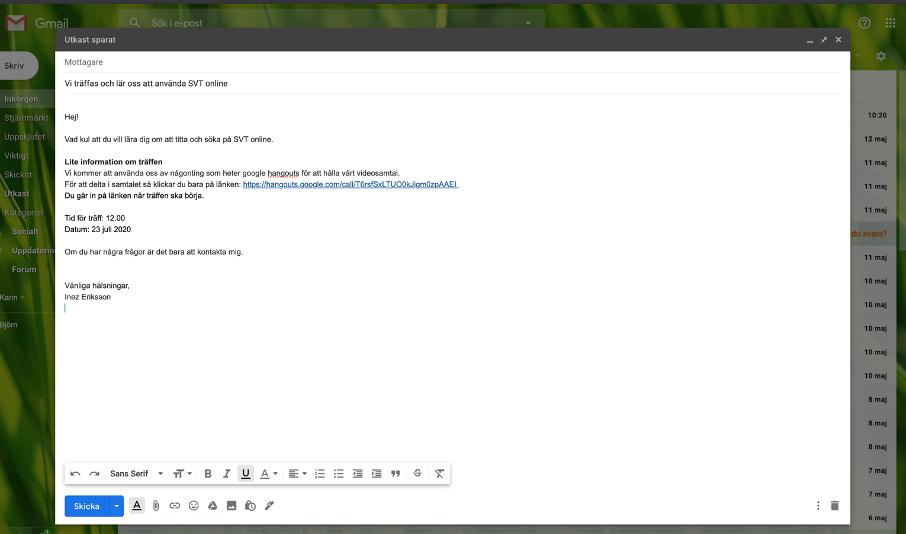 Exempel på hur ett mail ser ut i gmail.