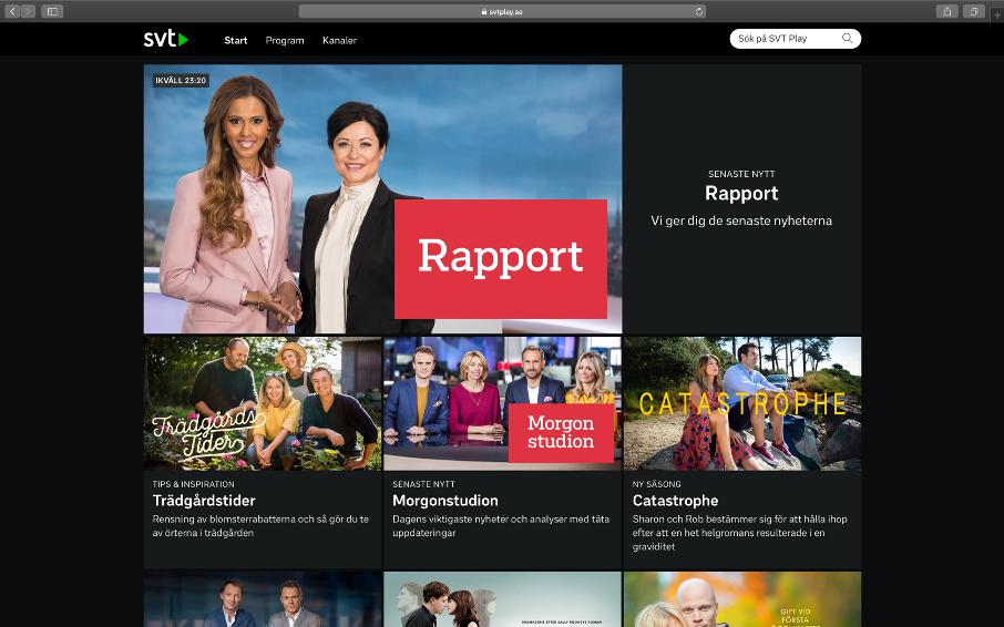 Startsida på SVTplay
